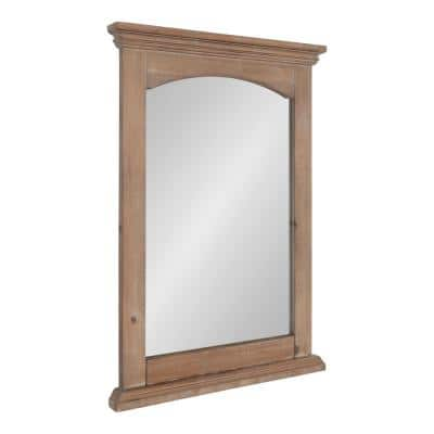 Helcomb 28 in. x 20 in. Classic Rectangle Framed Rustic Brown Wall Accent Mirror