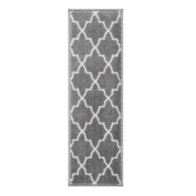 Trellisville Collection Gray 9 in. x 28 in. Polypropylene Stair Tread Cover (Set of 13)