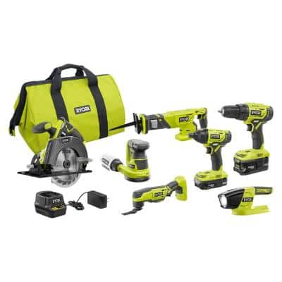 ONE+ 18V Cordless 6-Tool Combo Kit with (2) Batteries, Charger, Bag with 5 in. Random Orbit Sander