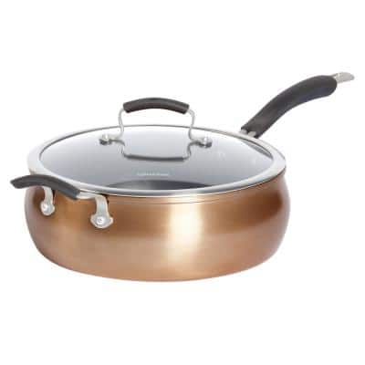 Translucent 6 qt. Hard-Anodized Aluminum Nonstick Saute Pan in Copper with Glass Lid