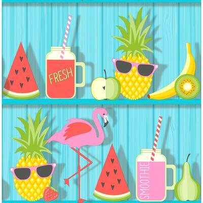 Kids Teal Tropical Shelves Wallpaper Sample