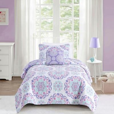 Vivian Purple 4-Piece Cotton Quilt Bedding Set - Full/Queen