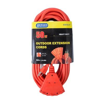 50 ft. 14/3 SJTW 15 Amp/125-Volt Outdoor Triple Tap Extension Cord, Orange