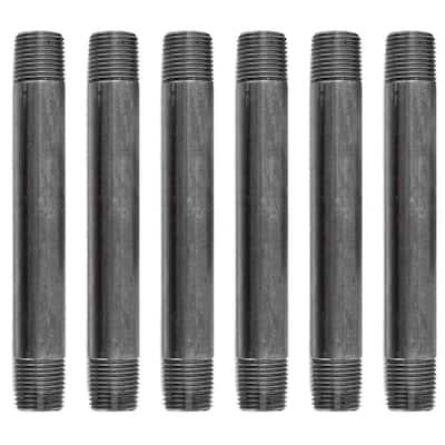1/2 in. x 6 in. Black Industrial Steel Grey Plumbing Nipple (6-Pack)