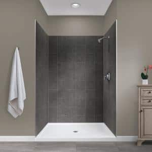 Jetcoat 34 in. x 48 in. x 78 in. Shower Kit in Slate with Center Drain Base in White (5-Piece)