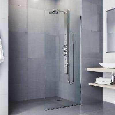 Sutton 58 in. x 4 in. 4-Jet High Pressure Shower Panel System with Circular Fixed Rainhead in Stainless Steel