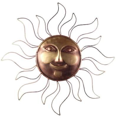 31 in. Steel Bronze Sun Decorative Wall Art