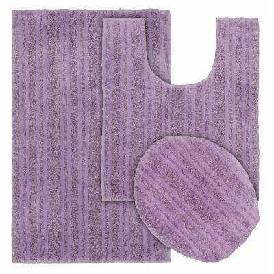 Grand Isle Purple 21 in. x 34 in. Striped Nylon 3-Piece Bath Mat Set