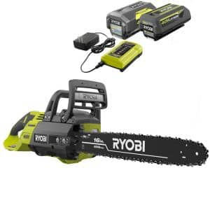 16 in. 40-Volt Brushless Lithium-Ion Cordless Chainsaw, Two 4 Ah Batteries and Charger Included