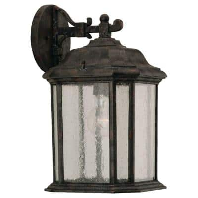 Kent 1-Light Oxford Bronze Outdoor 15 in. Wall Lantern Sconce with LED Bulb