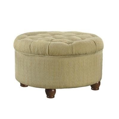 Beige and Brown Fabric Upholstered Wooden Ottoman with Tufted Lift Off Lid Storage