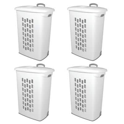 White Plastic Laundry Hamper with Lift-Top, Wheels and Pull Handle (4-Pack)