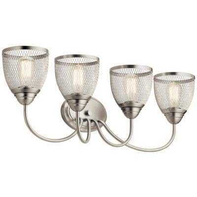 Voclain 5 in. 4-Light Brushed Nickel Vanity Light with Mesh Shade