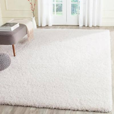 California Shag White 8 ft. x 10 ft. Solid Area Rug