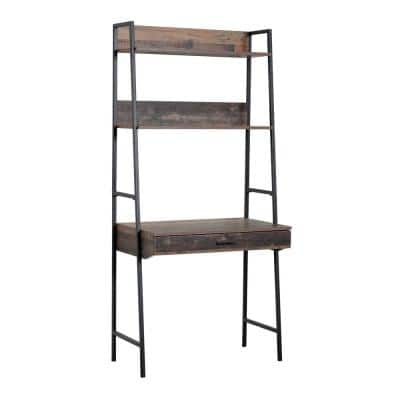 71 in. Planked Knotty Pine Wood 3-shelf Ladder Bookcase with Open Back