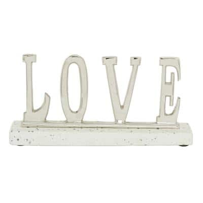 """21 in. x 6 in. Silver Terrazzo and Metal """"Love"""" Sign 13 in. x 6 in."""