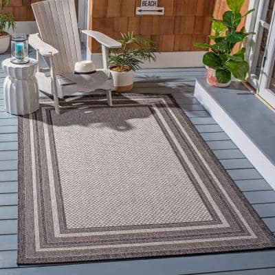 Courtyard Light Gray/Black 7 ft. x 10 ft. Solid Striped Indoor/Outdoor Area Rug