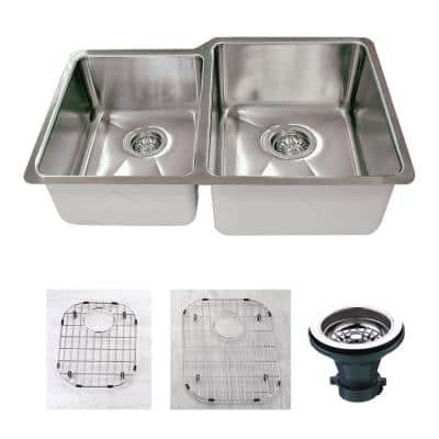 Premium Undermount 18-Gauge Stainless Steel 32 in. 45/55 Double Bowl Kitchen Sink with Grid and Strainer