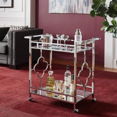 Chrome Floral Bar Cart With Mirrored Bottom And Glass Top