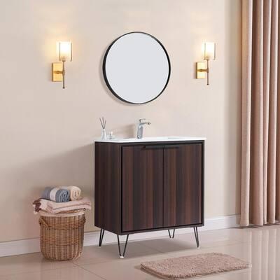 30 in. W x 18 in. D x 35 in. H Bathroom Vanity in Dark Brown Oak Wood Grain with White Ceramic Top, Side Cabinet