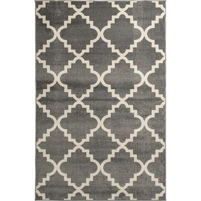 Patio Brights Grey 3 ft. 3 in. x 5 ft. Aspen Indoor/Outdoor Area Rug