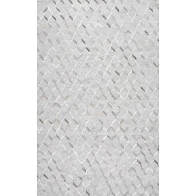 Grenier Contemporary Cowhide Trellis Gray 10 ft. x 14 ft. Area Rug