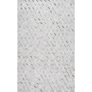 Grenier Contemporary Cowhide Trellis Gray 4 ft. x 6 ft. Area Rug