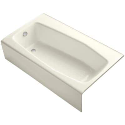 Villager 5 ft. Left Drain Rectangular Alcove Soaking Tub in Biscuit