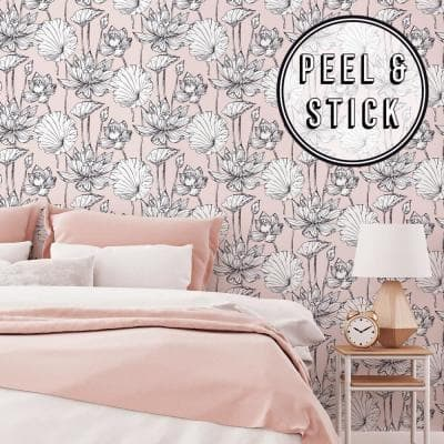Pink Illustrative Floral Peel and Stick Removable Wallpaper