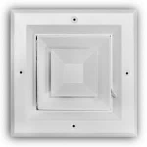 6 in. x 6 in. 4-Way Aluminum Square Ceiling Diffuser in White