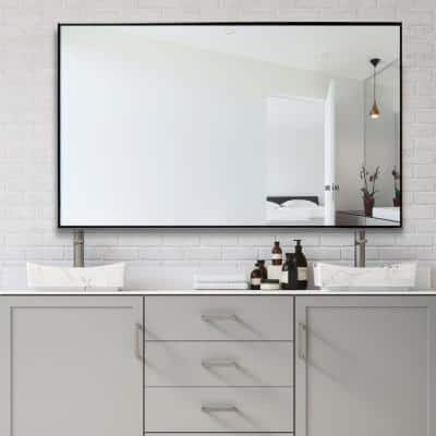 51 in.  x 31 in.  Large Modern Rectangle Metal Framed Bathroom Vanity Mirror