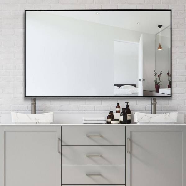 Neu Type 51 In X 31 In Large Modern Rectangle Metal Framed Bathroom Vanity Mirror Jj00940aaf The Home Depot