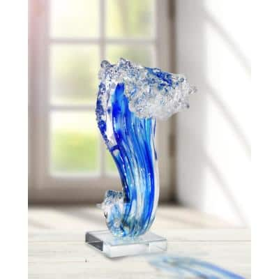 11.5 in. Pacific Wave Handcrafted Art Irregular Glass Sculpture