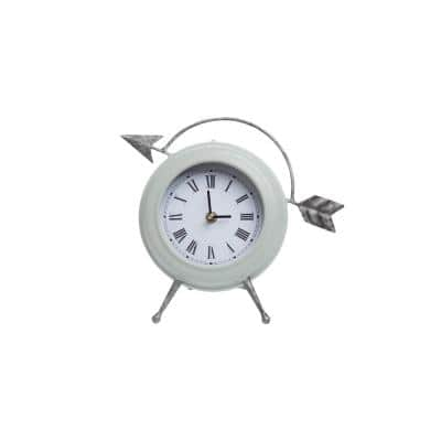 Distressed Green Metal Arrow Battery Operated Table Clock