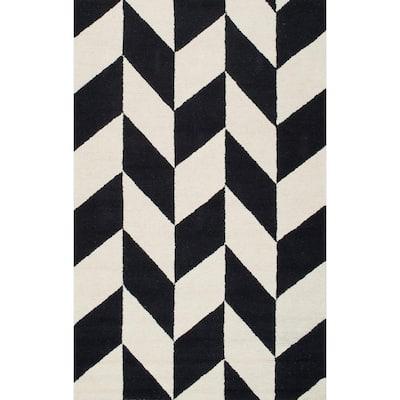 Katte Geometric Black & White 9 ft. x 12 ft. Area Rug