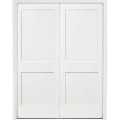48 in. x 80 in. 2-Panel Square Shaker White Primed Universal SC Wood Double Prehung Interior Door with Bronze Hinges
