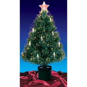 4 ft. Pre-Lit Multi Lights Fiber Optic Artificial Christmas Tree with Candles