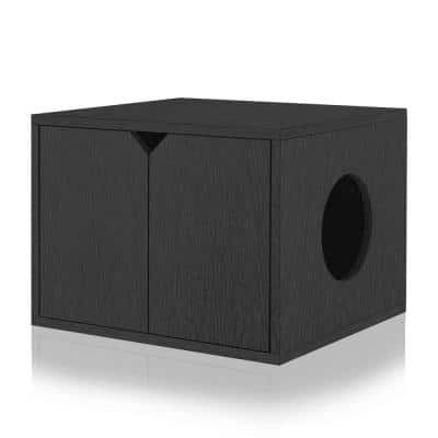 Black 23.2 in. W x 16.9 in. H zBoard Paperboard Enclosed Cat Litter Box Concealment with Side Hole