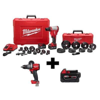 M18 18-Volt Lithium-Ion Cordless 1/2 in.- 4 in. Force Logic Knockout Tool Kit /W FUEL Hammer Drill & 5.0 Ah Battery