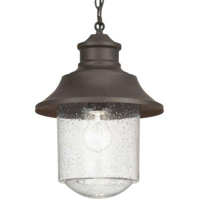 Weldon Collection 1-Light Architectural Bronze Clear Seeded Glass Farmhouse Outdoor Hanging Lantern Light