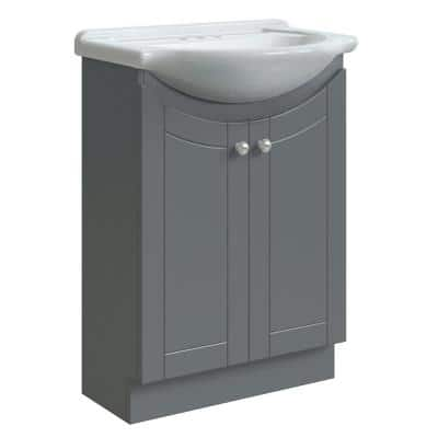 Highmont 24 in. W x 17-1/8 in. D Bath Vanity in Twilight Gray with Porcelain Vanity Top in Solid White with White Basin