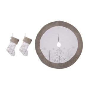 48 in. Tree Skirt and 21 in. H Stocking (Set of 3 White Fleece Christmas Decorations)