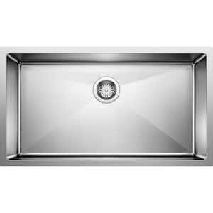 QUATRUS R15 Farmhouse Apron-Front Stainless Steel 32 in Single Bowl Kitchen Sink