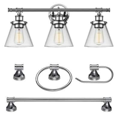 Parker 3-Light Chrome Vanity Light With Clear Glass Shades and Bath Set (5-Piece)