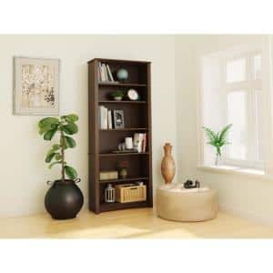 77 in. Espresso Wood 6-shelf Standard Bookcase with Adjustable Shelves