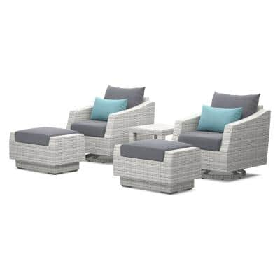 Cannes 5-Piece Motion Wicker Patio Conversation Set with Gray Cushions