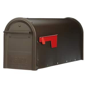 Franklin Medium, Steel, Post Mount Mailbox, Bronze w/Brass Finish