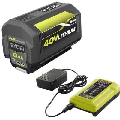 40-Volt Lithium-Ion 6 Ah High Capacity Battery and Charger Kit