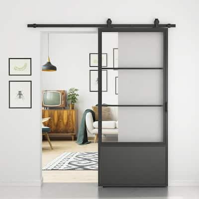 37 in. x 84 in. 3/4 Lites Clear Glass Black Steel Frame Interior Barn Door with Sliding Hardware Kit and Door Handle