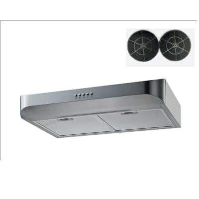 30 in. 350 CFM Convertible Under Cabinet Range Hood in Stainless Steel with Mesh, Charcoal Filters and Push Buttons